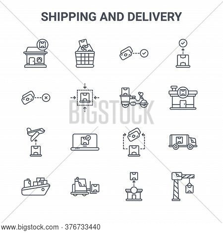 Set Of 16 Shipping And Delivery Concept Vector Line Icons. 64x64 Thin Stroke Icons Such As Boxes, Mo