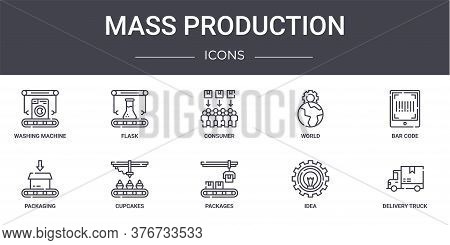 Mass Production Concept Line Icons Set. Contains Icons Usable For Web, Logo, Ui Ux Such As Flask, Wo