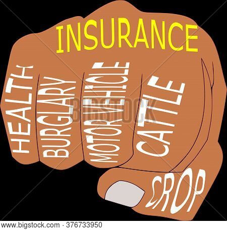 Insurance Classification Called Health, Burglary, Motor Vehicle, Cattle, Crop With Hand Punch Art Pa