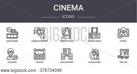 Cinema Concept Line Icons Set. Contains Icons Usable For Web, Logo, Ui Ux Such As Camera Operator, C