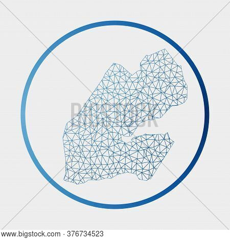Djibouti Icon. Network Map Of The Country. Round Djibouti Sign With Gradient Ring. Technology, Inter