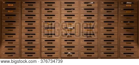 Many Mail Boxes Made From Brown Wood Were Placed On First Floor In Condo. Postbox In Condominium. Se