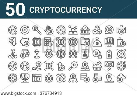 Set Of 50 Cryptocurrency Icons. Outline Thin Line Icons Such As Cryptocurrency, Pie Chart, Bitcoin,