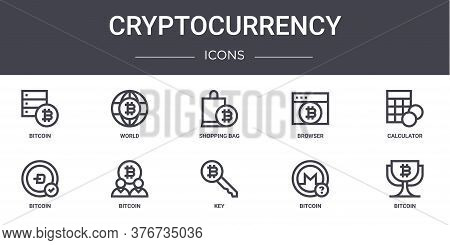 Cryptocurrency Concept Line Icons Set. Contains Icons Usable For Web, Logo, Ui Ux Such As World, Bro