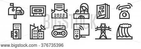 12 Set Of Linear News Icons. Thin Outline Icons Such As Tsunami, Tv, Broadcasting, Magazine, Typing,