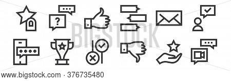 12 Set Of Linear Feedback And Testimonials Icons. Thin Outline Icons Such As Video Call, Dislike, Tr