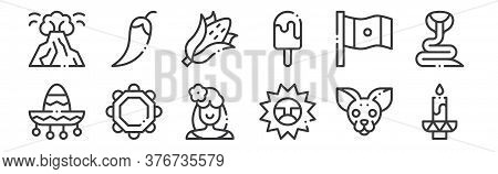 12 Set Of Linear Mexico Icons. Thin Outline Icons Such As Candle, Sun, Jarocho, Mexico, Corn, Chilli