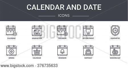 Calendar And Date Concept Line Icons Set. Contains Icons Usable For Web, Logo, Ui Ux Such As Graduat