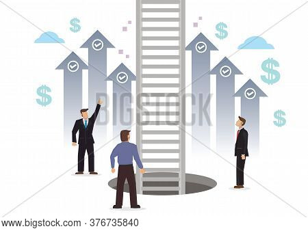 Businessman On The Journey Up The Ladder To The Sky. Concept Of Challenge Or Opportunity. Flat Carto