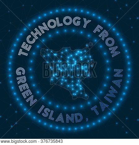 Technology From Green Island, Taiwan. Futuristic Geometric Badge Of The Island. Technological Concep