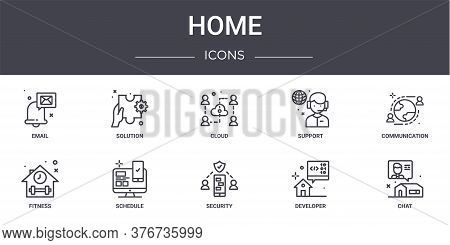 Home Concept Line Icons Set. Contains Icons Usable For Web, Logo, Ui Ux Such As Solution, Support, F