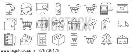 Ecommerce Line Icons. Linear Set. Quality Vector Line Set Such As Warehouses, Shopping Cart, Cardboa