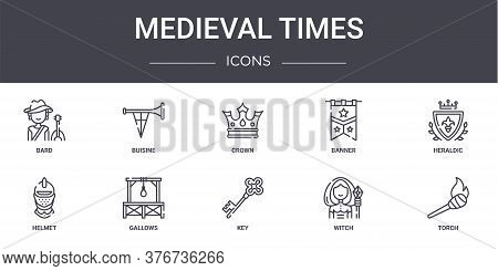 Medieval Times Concept Line Icons Set. Contains Icons Usable For Web, Logo, Ui Ux Such As Buisine, B