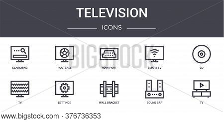 Television Concept Line Icons Set. Contains Icons Usable For Web, Logo, Ui Ux Such As Football, Smar