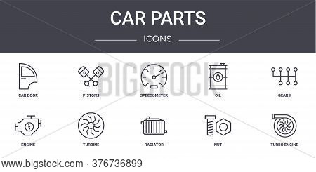 Car Parts Concept Line Icons Set. Contains Icons Usable For Web, Logo, Ui Ux Such As Pistons, Oil, E