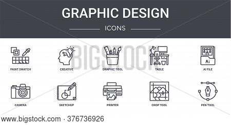 Graphic Design Concept Line Icons Set. Contains Icons Usable For Web, Logo, Ui Ux Such As Creative,
