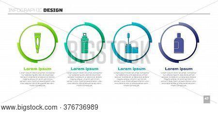 Set Cream Or Lotion Cosmetic Tube, Perfume, Mascara Brush And Bottle Of Shampoo. Business Infographi