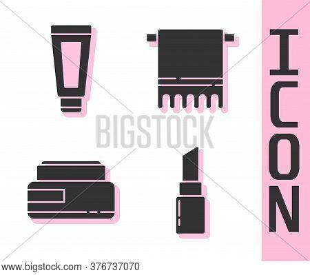 Set Lipstick, Cream Or Lotion Cosmetic Tube, Cream Or Lotion Cosmetic Tube And Towel On A Hanger Ico
