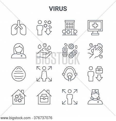 Set Of 16 Virus Concept Vector Line Icons. 64x64 Thin Stroke Icons Such As Virus, Paramedic, Hand Wa