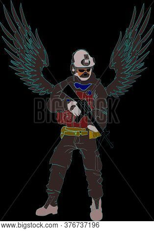 Army Commando With Bird Wings Holding Weapon On Hand