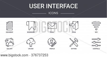 User Interface Concept Line Icons Set. Contains Icons Usable For Web, Logo, Ui Ux Such As Bookmark,