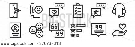 12 Set Of Linear Feedback And Testimonials Icons. Thin Outline Icons Such As Heart, Rating, Review,