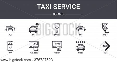 Taxi Service Concept Line Icons Set. Contains Icons Usable For Web, Logo, Ui Ux Such As Taxi, Taxi,