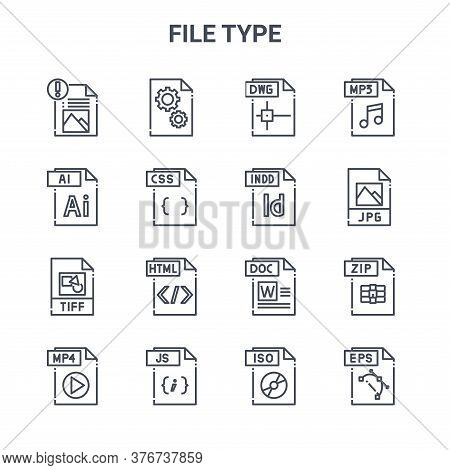 Set Of 16 File Type Concept Vector Line Icons. 64x64 Thin Stroke Icons Such As Dll File, Ai File, Jp