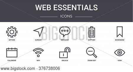 Web Essentials Concept Line Icons Set. Contains Icons Usable For Web, Logo, Ui Ux Such As Cursor, Ba