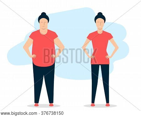 Young Woman Before And After Fitness. A Fat Girl Is Able To Lose Weight. Vector Illustration