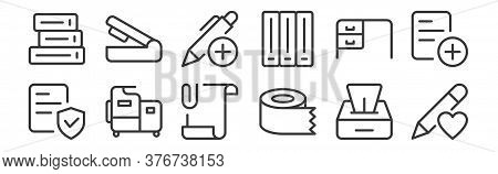 12 Set Of Linear Work Office Supply Icons. Thin Outline Icons Such As Favorite, Tissue Roll, Machine
