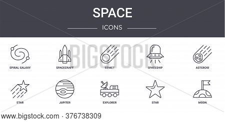 Space Concept Line Icons Set. Contains Icons Usable For Web, Logo, Ui Ux Such As Spacecraft, Spacesh