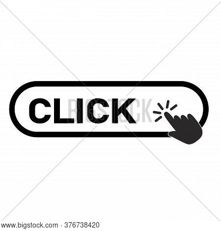 Click Here Button With Hand Icon On White Background. Flat Style. Click Button With Hand Clicking Si