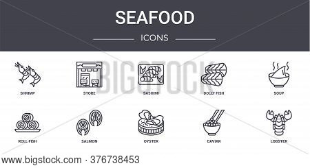 Seafood Concept Line Icons Set. Contains Icons Usable For Web, Logo, Ui Ux Such As Store, Dolly Fish