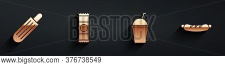 Set French Hot Dog, Chocolate Bar, Milkshake And Hotdog Sandwich Icon With Long Shadow. Vector
