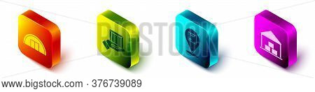 Set Isometric Warehouse, Delivery Hand With Boxes, Location With Cardboard Box And Warehouse Icon. V