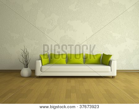 White Sofa With Green Pillows