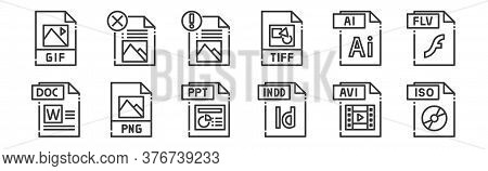 12 Set Of Linear File Type Icons. Thin Outline Icons Such As Iso File, Indd File, Png File, Ai For W