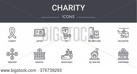 Charity Concept Line Icons Set. Contains Icons Usable For Web, Logo, Ui Ux Such As Laptop, Delivery
