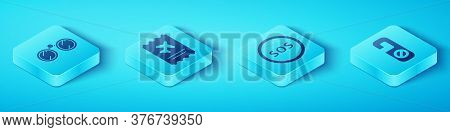Set Isometric Binoculars, Airline Ticket, Please Do Not Disturb And Location With Sos Icon. Vector