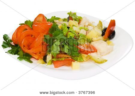 Salad From Vegetables With Meat Of Shrimps