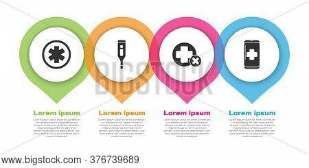 Set Medical Symbol Of The Emergency, Medical Digital Thermometer, Cross Hospital Medical And Emergen