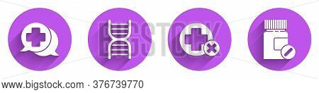 Set Dialogue With The Doctor, Dna Symbol, Cross Hospital Medical And Medicine Bottle And Pills Icon