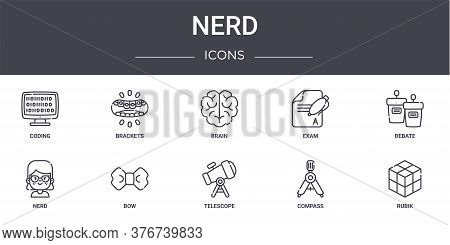 Nerd Concept Line Icons Set. Contains Icons Usable For Web, Logo, Ui Ux Such As Brackets, Exam, Nerd