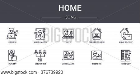 Home Concept Line Icons Set. Contains Icons Usable For Web, Logo, Ui Ux Such As Video Calling, Worki