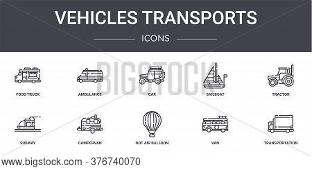 Vehicles Transports Concept Line Icons Set. Contains Icons Usable For Web, Logo, Ui Ux Such As Ambul