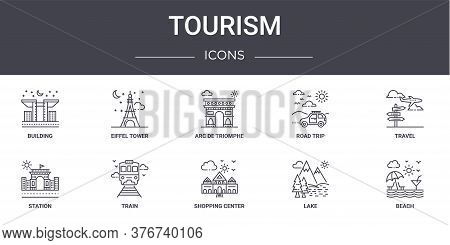 Tourism Concept Line Icons Set. Contains Icons Usable For Web, Logo, Ui Ux Such As Eiffel Tower, Roa