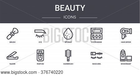 Beauty Concept Line Icons Set. Contains Icons Usable For Web, Logo, Ui Ux Such As Eye, Eyeshadow, Ra