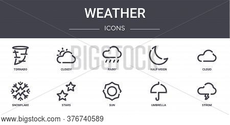 Weather Concept Line Icons Set. Contains Icons Usable For Web, Logo, Ui Ux Such As Cloudy, Half Moon