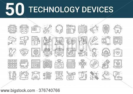 Set Of 50 Technology Devices Icons. Outline Thin Line Icons Such As Usb Charger, Usb, Ram, Usb, Cctv